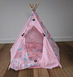 Luxury dog teepee by Pebblina featuring a Flamingo pattern Dog Tent, Teepee Tent, Tents, Super Cute Dogs, Flamingo Pattern, Medium Sized Dogs, Four Legged, Cute Designs, Making Out