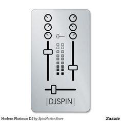 Disc jockey dj headphones blackgrunge businesscard business card modern platinum dj double sided standard business cards pack of 100 reheart Images
