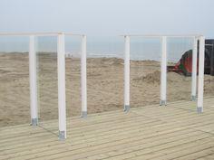 Glazen windscherm | Glazen afscheiding | Strandpaviljoen Katwijk aan zee |