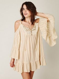 Free People Angel Wings Open Shoulder Dress at Free People Clothing Boutique - StyleSays