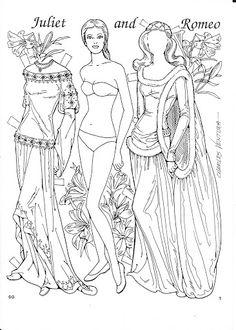 Romeo and Juliet Coloring Paper Dolls by Charles Ventura - Nena bonecas de papel - Álbumes web de Picasa