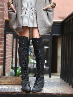 Free People Joe Lace Up Boot - women's shoes (black leather, footwear fashion)