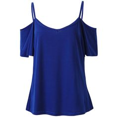 Sexy Women Off Shoulder Strappy Short Sleeve V Neck Cotton Polyester... ($8.52) ❤ liked on Polyvore featuring tops, t-shirts, shirts, blusas, tanks/camis, royal blue, women plus size tops, t shirt, off shoulder t shirt and short sleeve tee