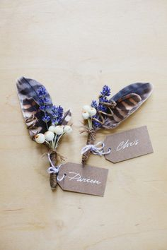 feather + lavender boutonnieres