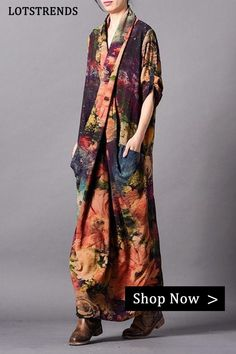 Fabric: Fabric has no stretch Season: Spring .Fall Type: Dress Sleeve Length: Long Sleeve Color: Multicolor Dresses Length: Maxi Style: Casual Material: Chiffon Silhouette: Loose One Size(Fit S/M/L): Length:123 cm .Bust:108 cm .Shoulder Wide:37 cm .Sleeve Length:48 cm Casual Dresses For Women, Casual Outfits, Linen Dresses, Maxi Dresses, Kimono, Maxi Styles, Advanced Style, Oversized Dress, Chiffon Maxi Dress