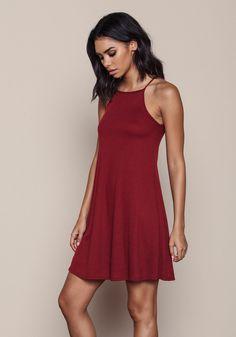 Wine Knit Trapeze Dress - Love Culture