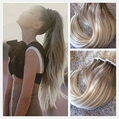 Ombre Ash Brown to Bleach Blonde Remy Human Hair Seamless Tape In Hair Extension #Ugea