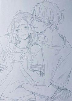 Anime Couples Drawings, Anime Couples Manga, Couple Drawings, Anime Boys, Manga Anime, Manga Art, Cute Anime Coupes, Yandere Anime, Romantic Manga