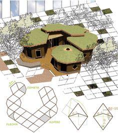"""Figura 8. Proyecto de la Vivienda C&A, Maschwitz, Buenos Aires. La morfología del espacio está estructurada por un sistema modular que recubre el plano (mosaico). Este mosaico es no-periódico, o sea, no goza de infinitud en ese proceso y no recubre periódicamente el todo. Estas dos piezas, """"cometa"""" y """"flecha"""", forman parte del """"mosaico de Penrose"""" que incorpora proporciones y dimensiones armónicas con la existencia del número áureo ( = 1,618…)."""