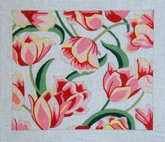Red & Pink Tulips by Rosalie Handpainted Needlepoint Canvas