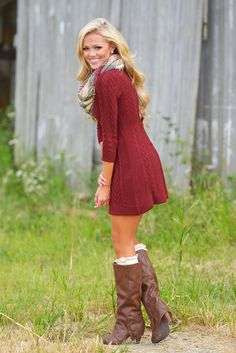 d9fc89cc41f Meeting The Parents Sweater Dress - Burgundy from Closet Candy Boutique Red Sweater  Dress
