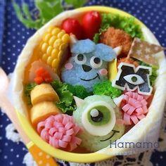 "Monsters Inc. ""Sully & Mike"" onigiri character bento box"