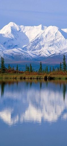 Majestic Mount McKinley massif reflected onto Wonder Lake at Denali National Park in Alaska • orig. source not found