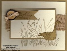 Wetlands Burlap Goose Wishes by Michelerey - Cards and Paper Crafts at Splitcoaststampers Masculine Birthday Cards, Birthday Cards For Men, Handmade Birthday Cards, Masculine Cards, Greeting Cards Handmade, Male Birthday, Burlap Card, Burlap Ribbon, Boy Cards