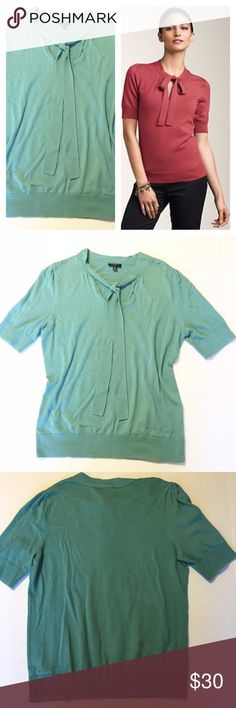 """Talbots Teal Tie-Neck Sweater Beautiful teal tie-neck sweater from Talbots! In excellent condition, like new. Medium-Petite 23.5"""" long from shoulder to hem, 19"""" bust laying flat. 60% Cotton, 40% Rayon Talbots Sweaters"""