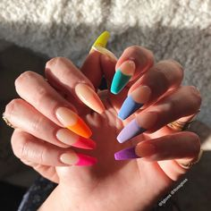 40 Pretty Multicolored Nail Art Designs For Spring and Summer 2019 rainbow nails colorful nail art design French manicure Multicolored Nail Art Designs Cute Acrylic Nails, Cute Nails, Pretty Nails, My Nails, Colorful Nail Designs, Nail Art Designs, Multicolored Nails, Wedding Nail Polish, Unicorn Nails