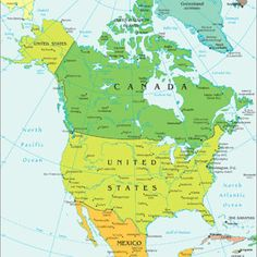 America Continent Map, North America Geography, North America Map, Central America, Geography Map, World Geography, Human Geography, Latitude And Longitude Map, Canada North