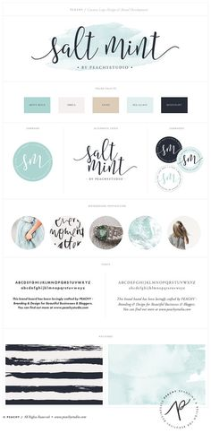 "Custom Logo Design & Branding Package Inc. Submark / Watermark - ""Salt Mint"" Watercolor Logo Design Example"
