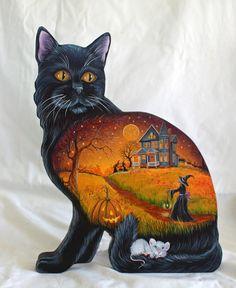 OOAK HALLOWEEN FOLK HANDPAINTED WOOD DUMMY BOARD WITCH MOUSE BLACK CAT MOON  #folkart