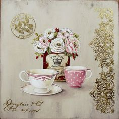 Old Prints Antiqued with gold. Two cups and tea can. Decoupage Vintage, Vintage Diy, Vintage Cards, Vintage Paper, Images Vintage, Vintage Pictures, Collages D'images, Tee Kunst, Etiquette Vintage