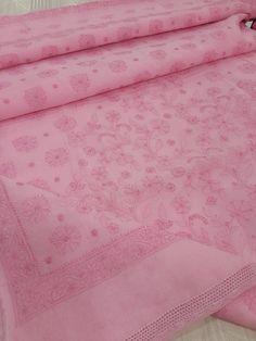 Lucknowi Chikankari Online Saree Baby Pink Cotton with very fine heavy allover chikankari murri, shadow & crochet work with designer border & allover chhadi bootis on body with blouse piece