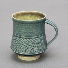 Wheel Thrown Porcelain Mug with Light Blue Green by hsinchuen, $45.00