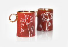 Hand Painted Ceramic Mugs Brown Rustic Autumn Fall Coffee Mugs Queen Anne's Lace Design Minimal Kitchen Decor - Set of 2 Mugs.
