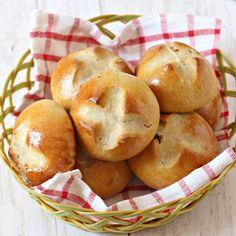 Eggless Butterless Hot cross bun made with whole wheat flour.