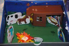 Blijft toch magisch voor kinderen: kijken door het gaatje van een kijkdoos. Helemaal leuk wanneer er 'echte' kaarsjes worden gebruikt. Een voor in de stal en een bij het kampvuur van de herders. Het venster in het deksel van de kijkdoos kun je goed beplakken met bakpapier, zodat er een mooie sfeer ontstaat in de doos. Kijk voor de kerstfiguren op de kerstpagina van geefmaardoor.