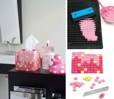 Make your own mosaic tiles from rubber car mat
