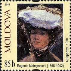 (Painters Self-portraits - Eugenia Malesevschi) Postage Stamp Art, First Day Covers, Folk Fashion, Naive, Art Gallery, Fine Art, Portraits, Artist, Paintings