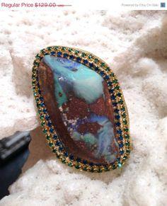 NEWYEAR SALE Boulder opal and swarovski by YaronaJewelryDesign, $110.94