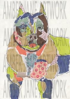 pop art, mixed media, retro, pitbull, print, collage, wall art, instant download, A4, JPEG by AmberJaneArtwork on Etsy