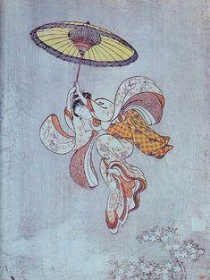 Ukiyoe Suzuki Harunobu 鈴木春信 「清水の舞台より飛ぶ美人」