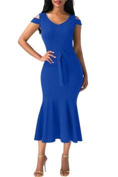 New arrival: Chicloth Royal Bl... Don't Miss it out! http://chicloth.com/products/chicloth-royal-blue-cold-shoulder-bow-detail-mermaid-dress?utm_campaign=social_autopilot&utm_source=pin&utm_medium=pin