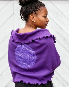 Royal Purple Lace Applique Oversized Infinity Scarf by SuZefashion