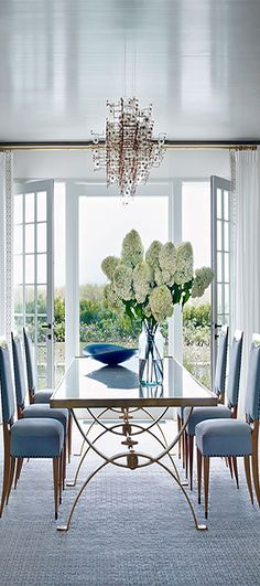 Blue And White With Elissa Cullman Cynthia Reccord Dining Room Sets Beach