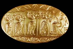 "MINOAN - Gold signet ring from the ""Tiryns Treasure"" of Mycenae. Greek History, Ancient History, European History, American History, Ancient Greece, Ancient Egypt, Ancient Aliens, Minoan Art, Bronze Age Civilization"