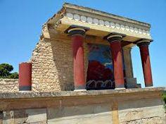 Dettaglio del palazzo di Cnosso, ricostruzione di Sir. Arthur Evans (restauro ad integrazione), II millennio a.C, Creta. Portico