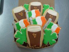 Guiness, Shamrock and Irish Flag cookies