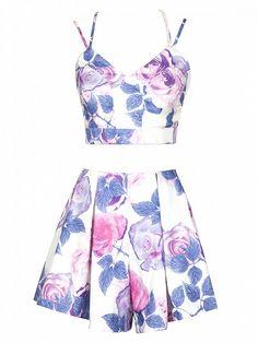 Top Cami Corto Detalle De Tirantes Floral En V Multicolor Y Shorts