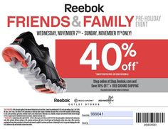 reebok outlet 40 off coupon sale