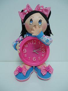 FofuRelojes Niñas - Goma Eva - Relojes Foam Crafts, Diy And Crafts, Arts And Crafts, Christmas In July, Christmas Ornaments, Diy Clock, Lalaloopsy, Fairy Dolls, Craft Tutorials