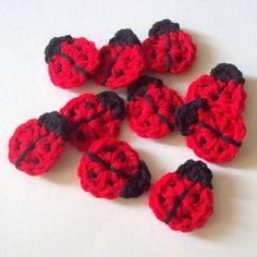 Crochet Ladybug Appliques, Ladybug Embellishment, Scrapbooking, Set of Crochet Ladybug Motif, Ma Crochet Puff Flower, Crochet Flower Patterns, Love Crochet, Crochet Gifts, Crochet Motif, Crochet Dolls, Crochet Flowers, Crochet Baby, Knit Crochet