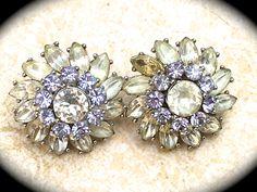 Signed Crown Trifari Vintage Earrings~ Clip-on Art Deco Philippe Glass Rhinestone Flower Earrings~ Designer Ivory and Lavender Rhinestones - pinned by pin4etsy.com