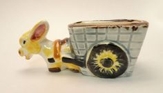 Vintage Small Ceramic Donkey Pulling Cart Figurine Small Planter. Made in Japan  VHDO410  ...   For Sale