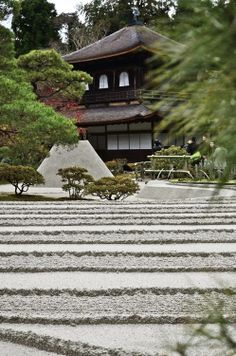 Sand garden at Jisho-ji temple, Kyoto, Japan 慈照寺 京都. (Ginkakuji Temple)