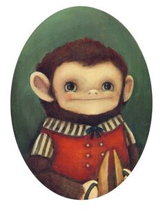 such sweet illustrations! The Cymbal Monkey Print by theblackapple on Etsy