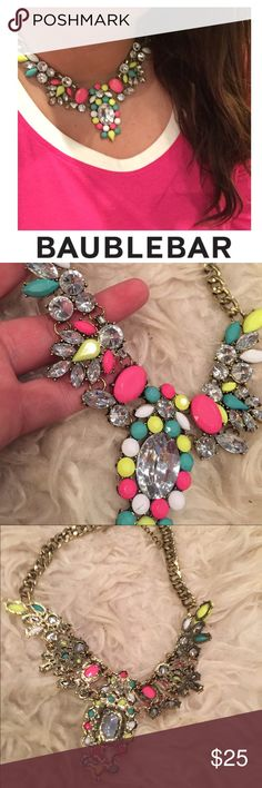 Baublebar Neon & Crystal Statement Necklace Baublebar Neon & Crystal Statement Necklace. 18 inch chain. Worn for one event. Excellent condition. Feel free to make an offer or bundle & save! Baublebar Jewelry Necklaces