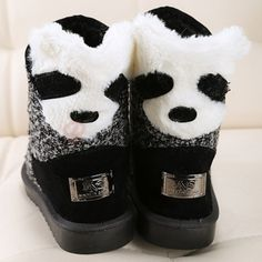 Cute Amazing Panda Head Mental Decorated Warm Snow Boots Gray on buytrends.com
